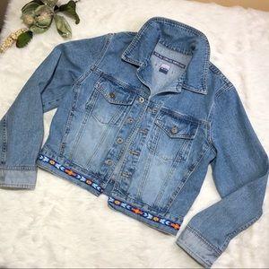 AGOLDE Vintage 90s Distressed Denim Beaded Jacket